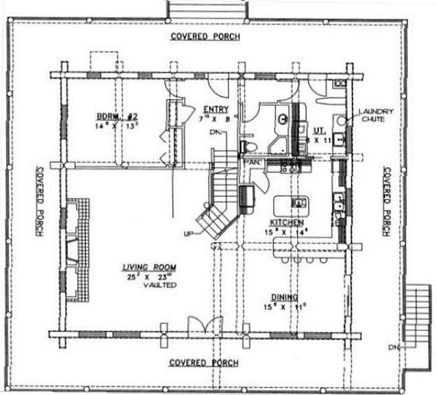 Plan 039 00011 2 Bedroom 2 5 Bath Log Home Plan