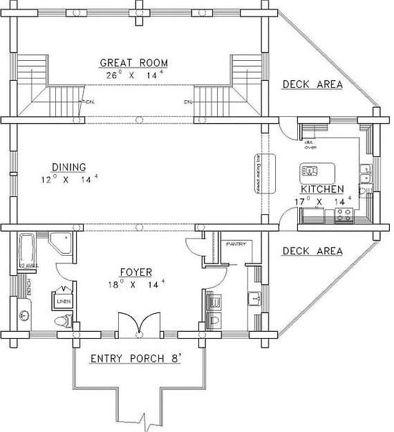 Plan 039 00028 2 Bedroom 3 Bath Log Home Plan