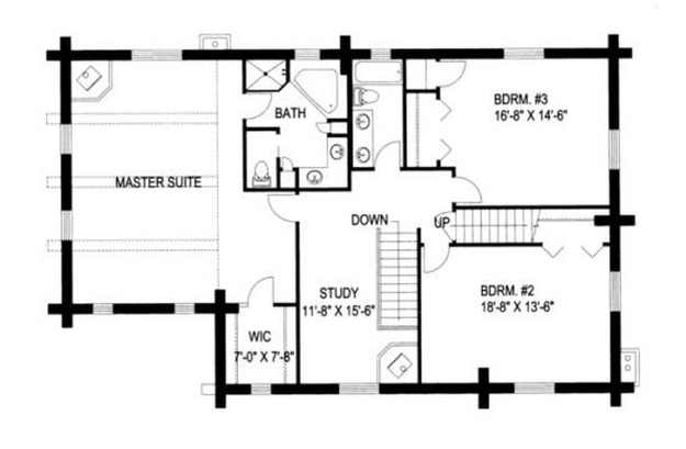 plan 039 00019 3 bedroom 4 bath log home plan