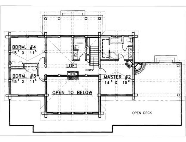 plan 039 00035 4 bedroom 3 5 bath log home plan