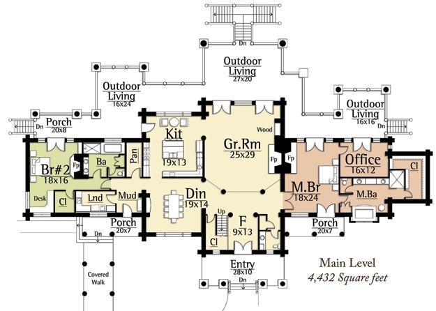 Plan 8504 00013 4 bedroom 4 bath log home plan for 4 bedroom log home plans