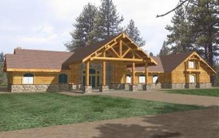Plan 039 00324 4 bedroom 4 bath rancher log home plan for 4 bedroom log homes