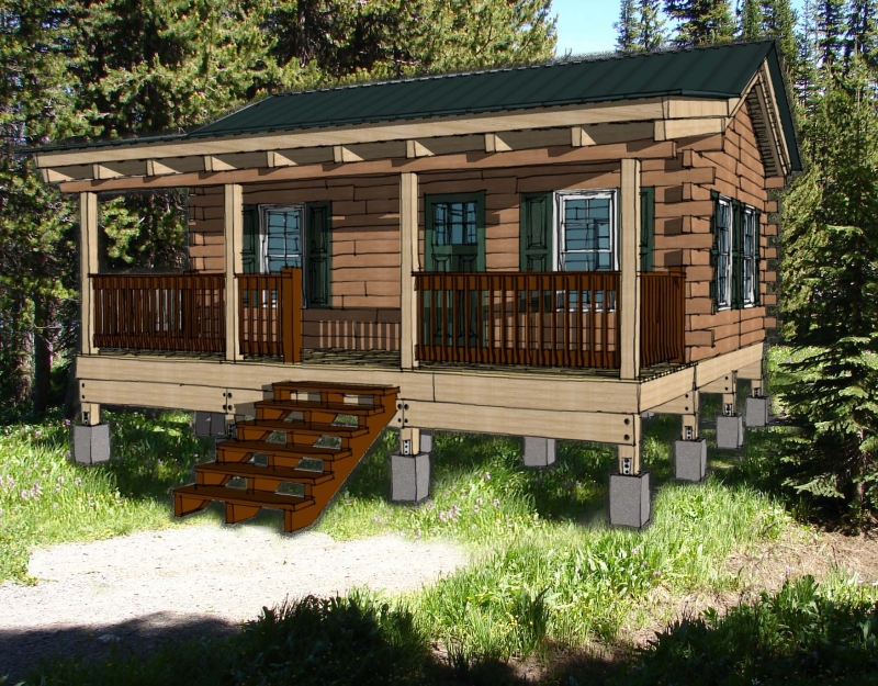 Hunting cabin kit log cabin plan for One bedroom log cabin plans
