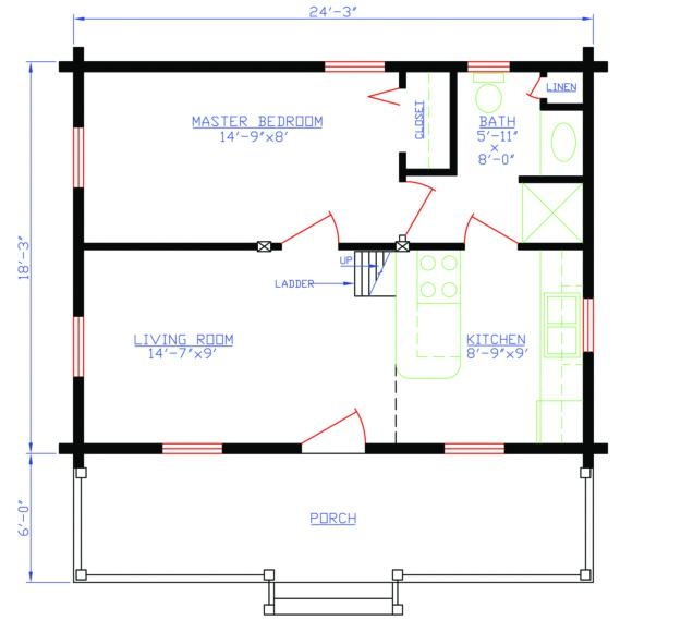 Plan 154 00003 1 bedroom 1 bath log cabin plan for One bedroom log cabin plans