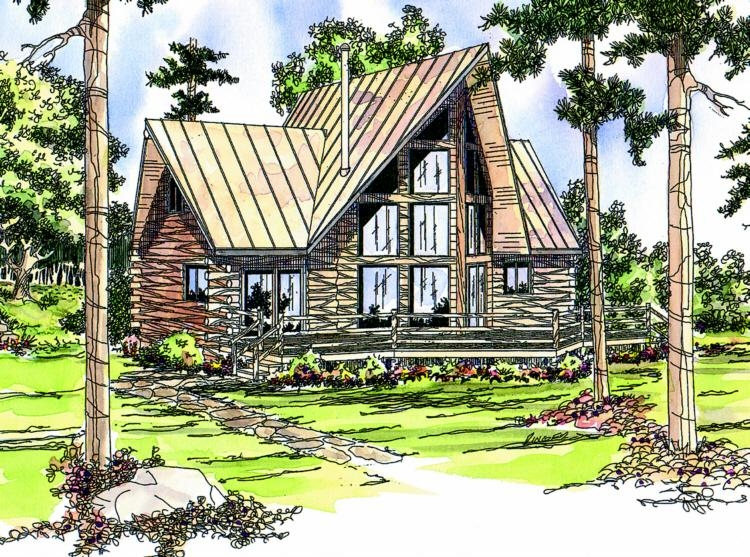 Plan 035 00142 2 bedroom 2 bath log home plan for A frame log cabin plans