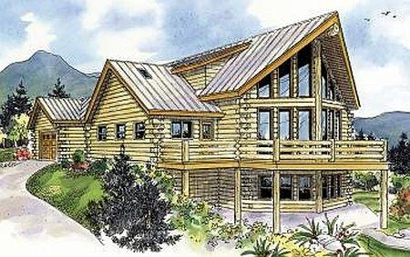 Plan 035 00427 2 bedroom 2 5 bath log home plan for 5 bedroom log homes