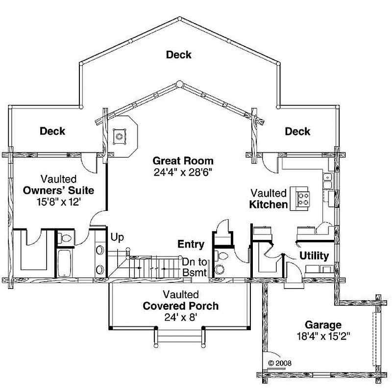 Plan 035 00427 2 bedroom 2 5 bath log home plan House plans 2 bedroom 2 bath