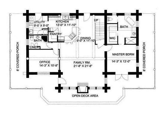Plan 039 00001 3 Bedroom 3 Bath Log Home Plan