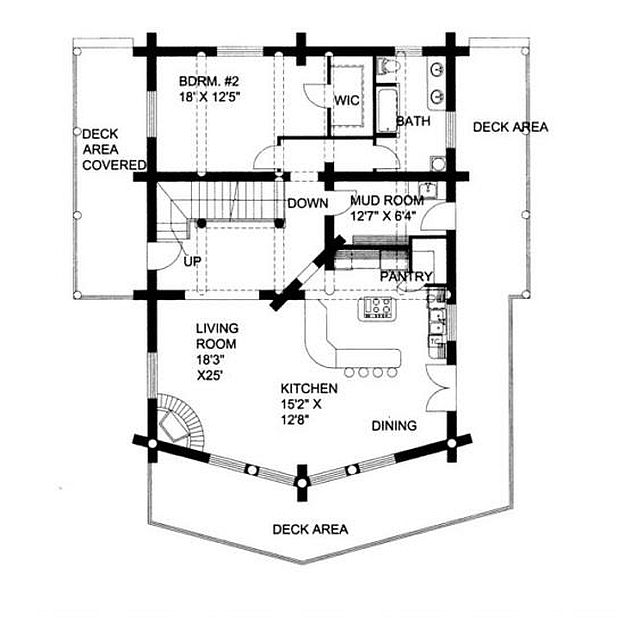 plan 039 00003 2 bedroom 2 bath log home plan