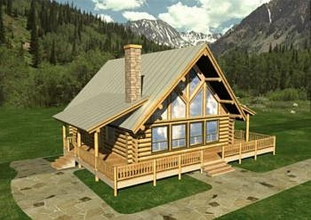 Plan 039 00010 4 bedroom 2 bath log home plan for 4 bedroom log homes