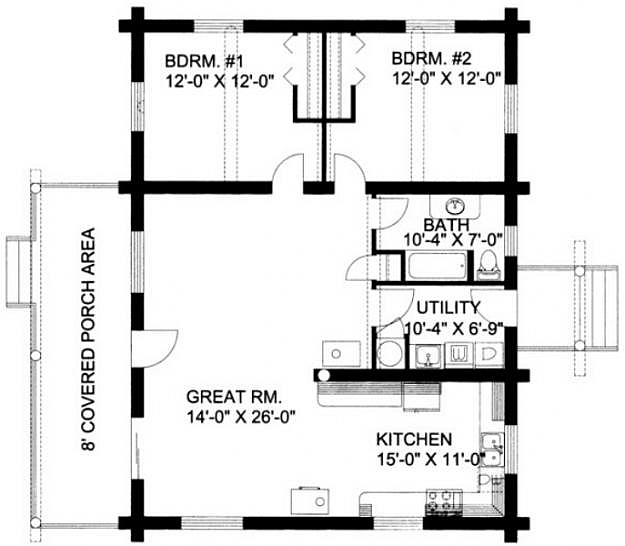 plan 039 00017 2 bedroom 1 bath log home plan