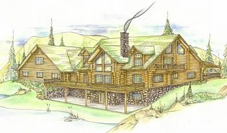 Plan 039 00024 6 bedroom 4 5 bath log home plan for 5 bedroom log home plans