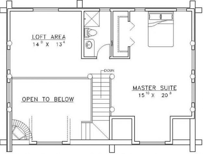 Plan 039 00025 2 Bedroom 2 5 Bath Log Home Plan