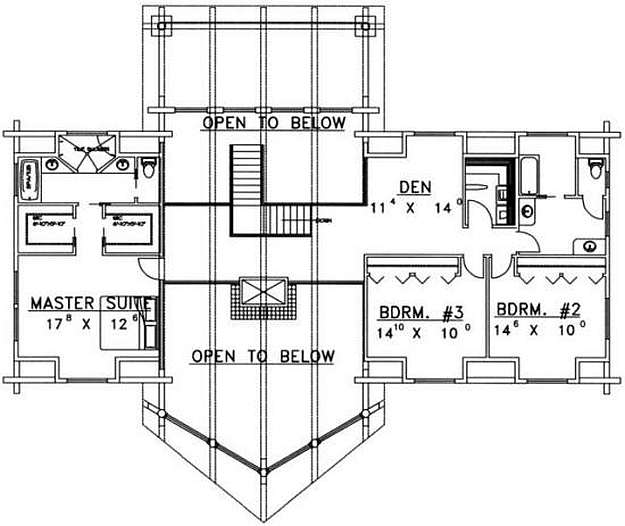 Plan 039 00029 5 bedroom 3 5 bath log home plan for 5 bedroom log homes