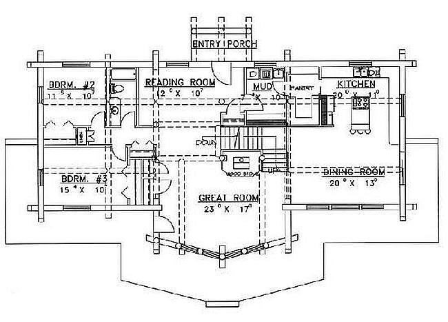 Plan 039 00032 3 Bedroom 2 Bath Log Home Plan
