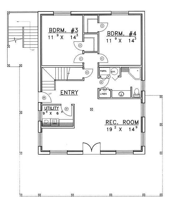 Plan 039 00043 4 bedroom 3 bath log home plan for 4 bedroom log home plans