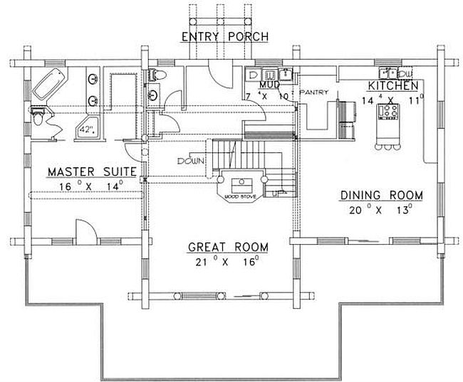 Plan 039 00051 3 Bedroom 2 5 Bath Log Home Plan