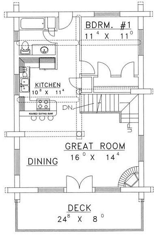 Plan 039 00054 2 Bedroom 2 Bath Log Home Plan