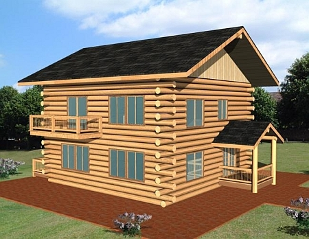 Plan 039 00073 2 bedroom 2 bath log home plan for Butt and pass log home plans
