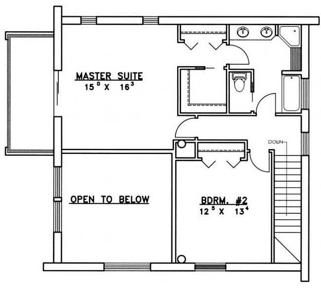 Plan 039 00073 2 Bedroom 2 Bath Log Home Plan