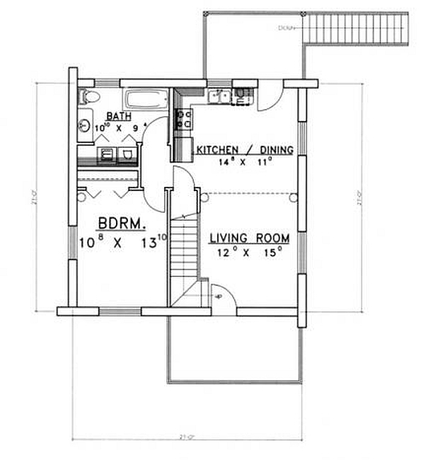 Plan 039 00075 1 bedroom 1 bath log home plan for 2 bed 1 bath house plans