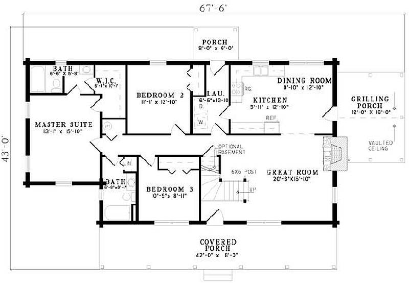 Plan 110 00908 5 bedroom 3 bath log home plan 3 bed 2 bath house plans