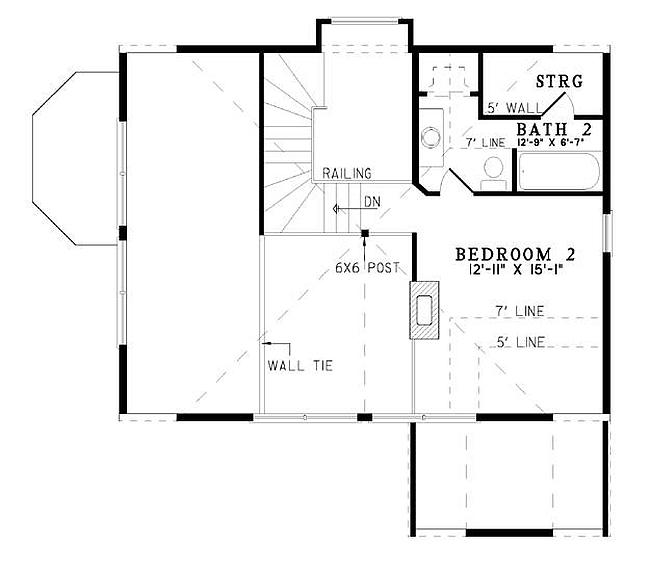 Plan 110 00909 2 bedroom 2 5 bath log home plan for 2 bedroom log cabin plans