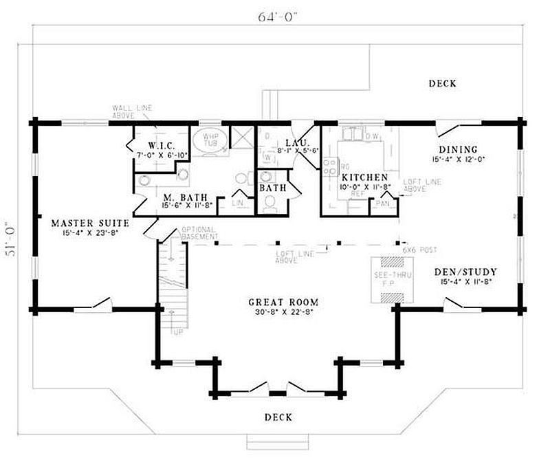 Plan 110 00912 3 bedroom 2 5 bath log home plan for 5 bedroom log home floor plans
