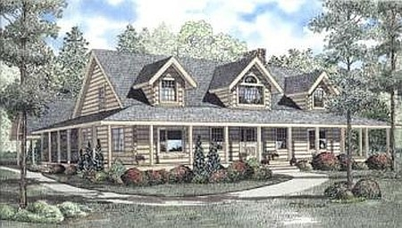 Plan 110 00917 4 bedroom 3 bath log home plan for Log cabin house plans with wrap around porches