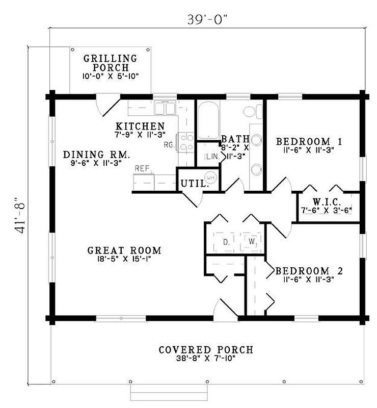 Plan 110 00919 2 bedroom 1 bath log home plan for 3 bed 2 bath ranch floor plans
