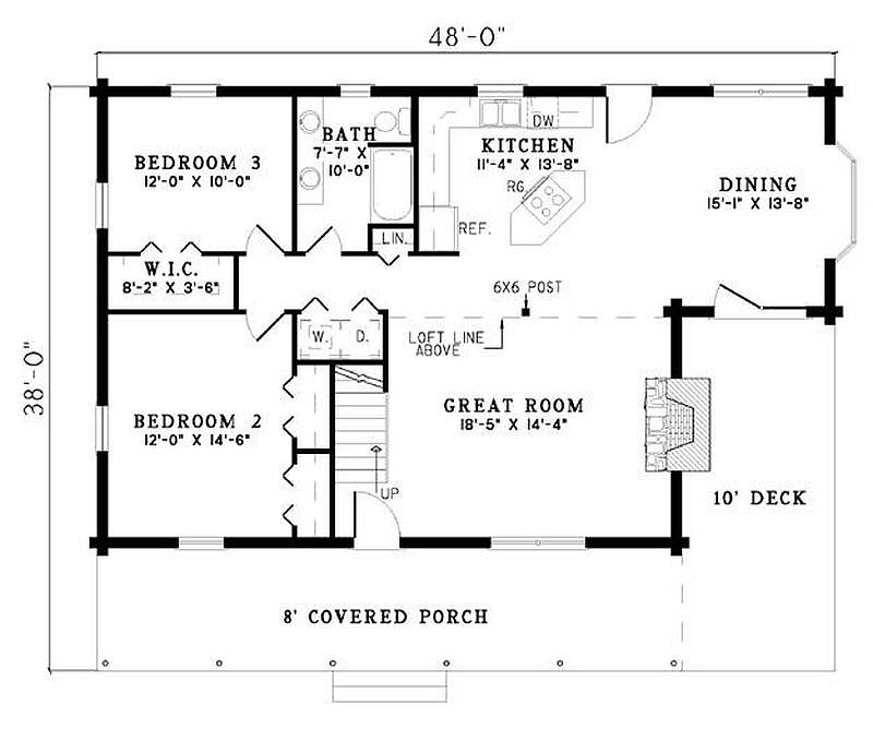 Plan 110 00925 3 bedroom 2 bath log home plan 3 bed 2 bath house plans