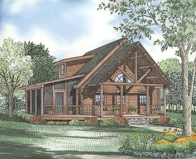 Plan 110 00926 3 bedroom 2 bath log home plan for Two bedroom log homes