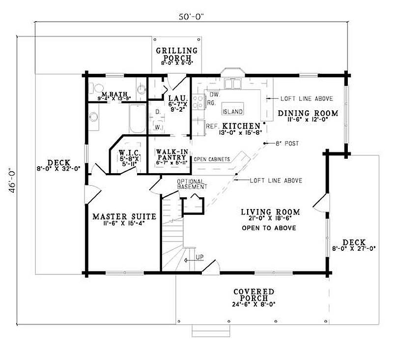 Plan 110 00928 2 bedroom 2 bath log home plan House plans 2 bedroom 2 bath