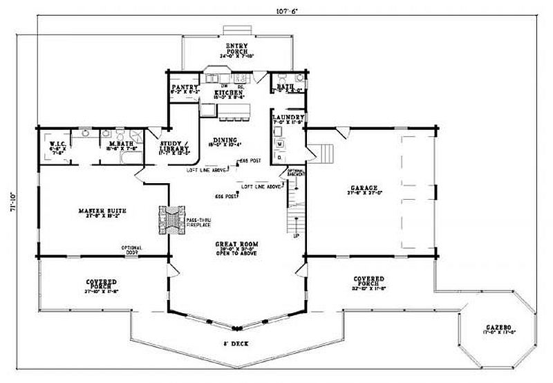 Plan 110 00933 2 bedroom 2 5 bath log home plan for 5 bedroom log home plans