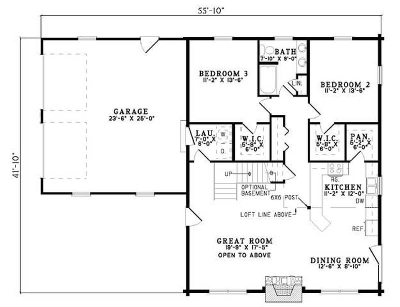 Plan 110 00934 3 bedroom 2 bath log home plan for Three bedroom two bath floor plans