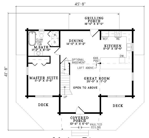Plan 110 00940 3 bedroom 2 bath log home plan Floor plans 3 bedroom 2 bath