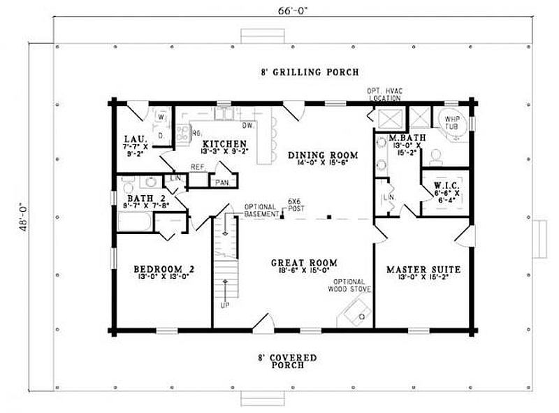 Plan 110 00945 4 bedroom 3 bath log home plan for Floor plans 4 bedroom 3 bath