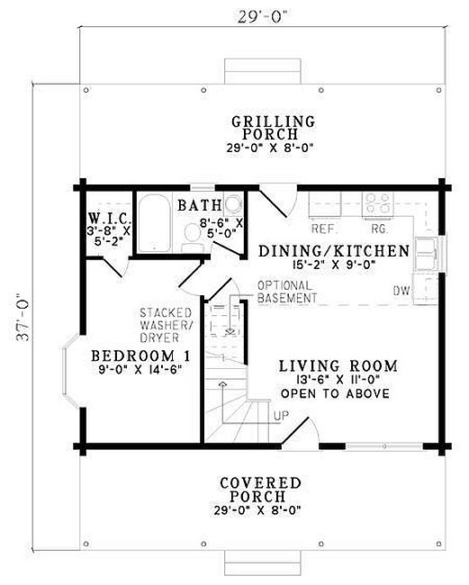 Plan 110 00950 2 bedroom 1 bath log cabin plan for 2 bedroom log cabin plans