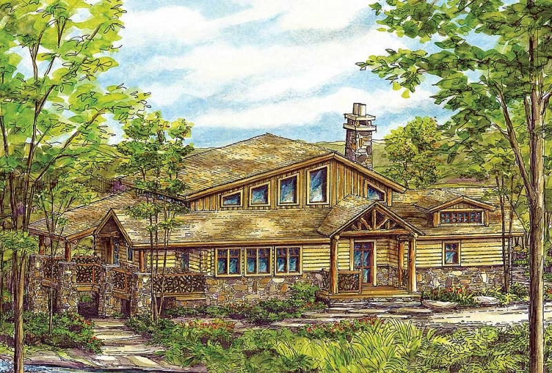 Plan 13315ww 2 bedroom 2 5 bath log home plan for 5 bedroom log home plans