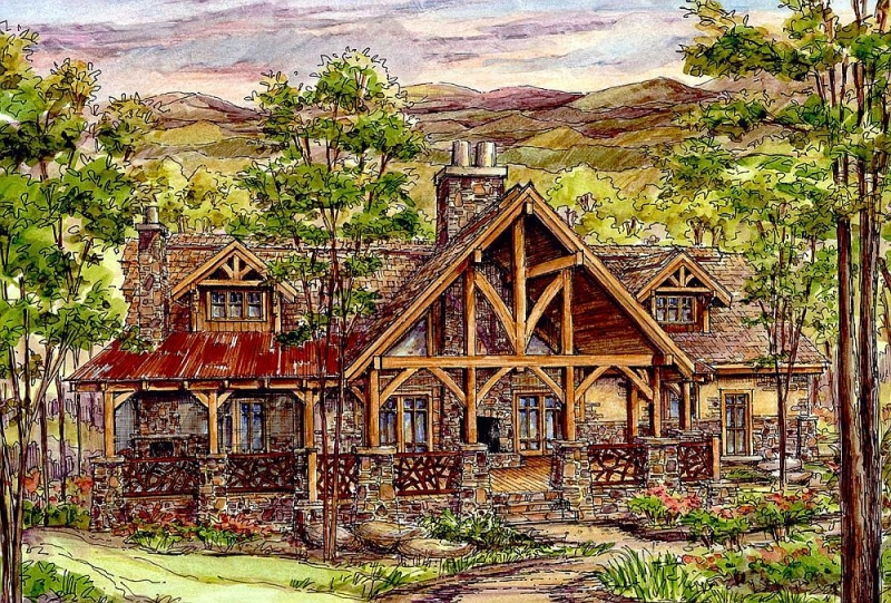 Plan 13322ww 4 Bedroom 3 5 Bath Log Home Plan
