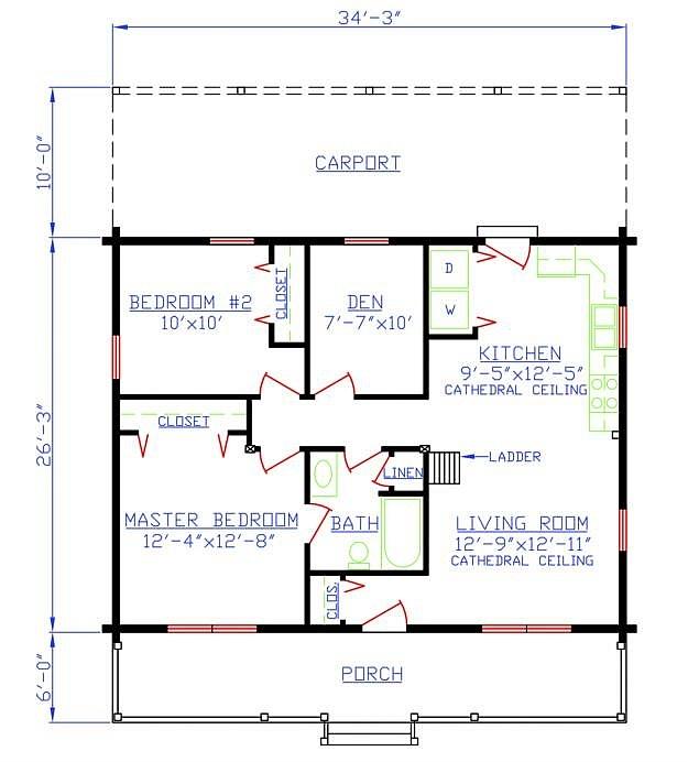 Plan 154-00005 2 Bedroom 1 Bath Log Home Plan on best 2 bedroom house plans, 3 bed 2 bath ranch house plans, 2 bedroom 1 bath house plans, 2 for 1 floor plans, best 2 story house plans, cottage style house plans,