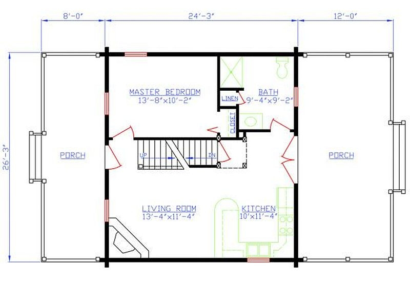 Plan 154 00007 2 bedroom 1 bath log cabin plan for 2 bedroom log cabin plans