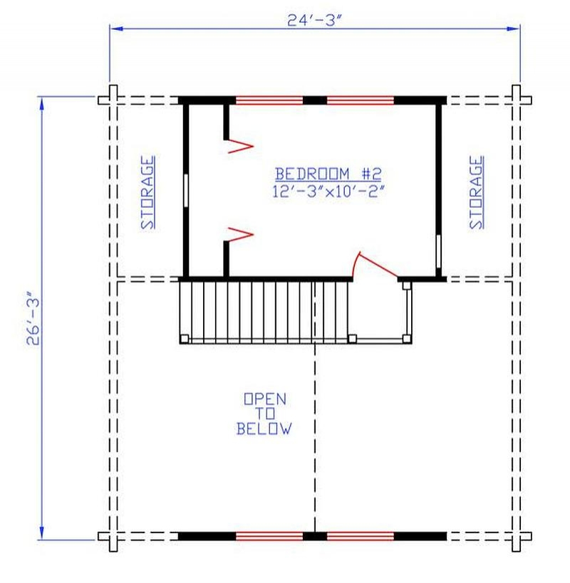 Two Bedroom Cabin Plans: Plan 154-00007 2 Bedroom 1 Bath Log Cabin Plan