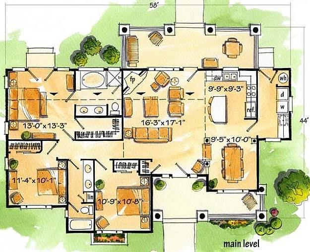 Plan 1907 00007 3 Bedroom 2 Bath Log Home Plan