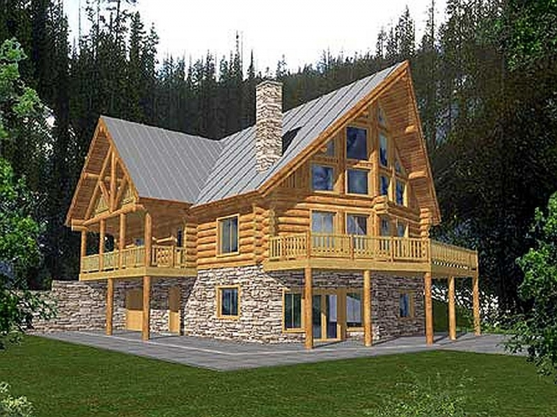 plan 35132gh 4 bedroom 3 bath log home plan