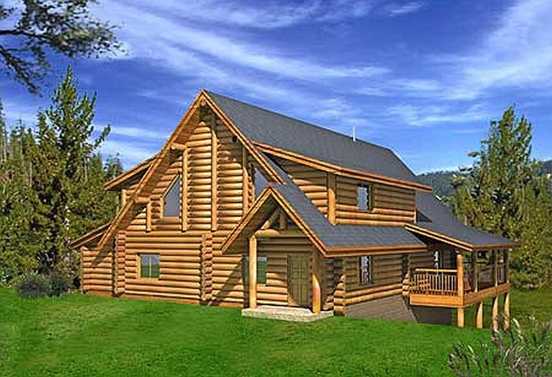 Plan 35351gh 2 bedroom 3 5 bath log home plan for 5 bedroom log homes