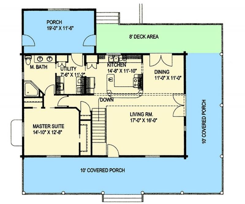 Plan 35409gh 4 bedroom 3 bath log home plan for Log homes with basement floor plans