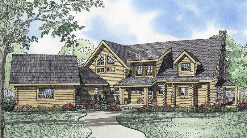 Plan 59032nd 3 Bedroom 3 5 Bath Log Home Plan