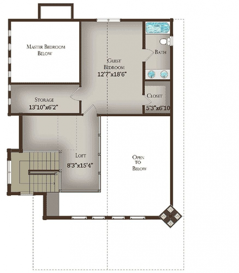 Plan LSG13321WW 2 Bedroom 2.5 Bath Log Home Plan