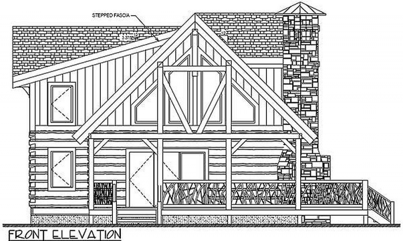 Front Elevation Bath : Plan lsg ww bedroom bath log home